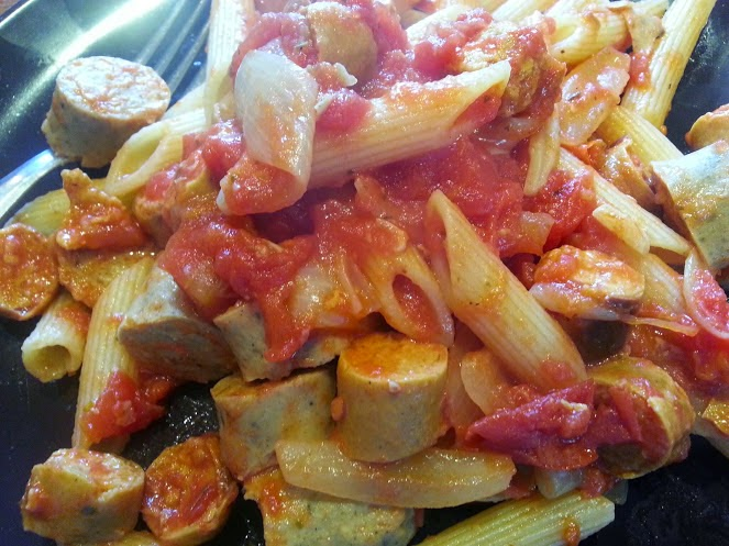 Simple vegetarian penne pasta with sausage recipe camping cookbook
