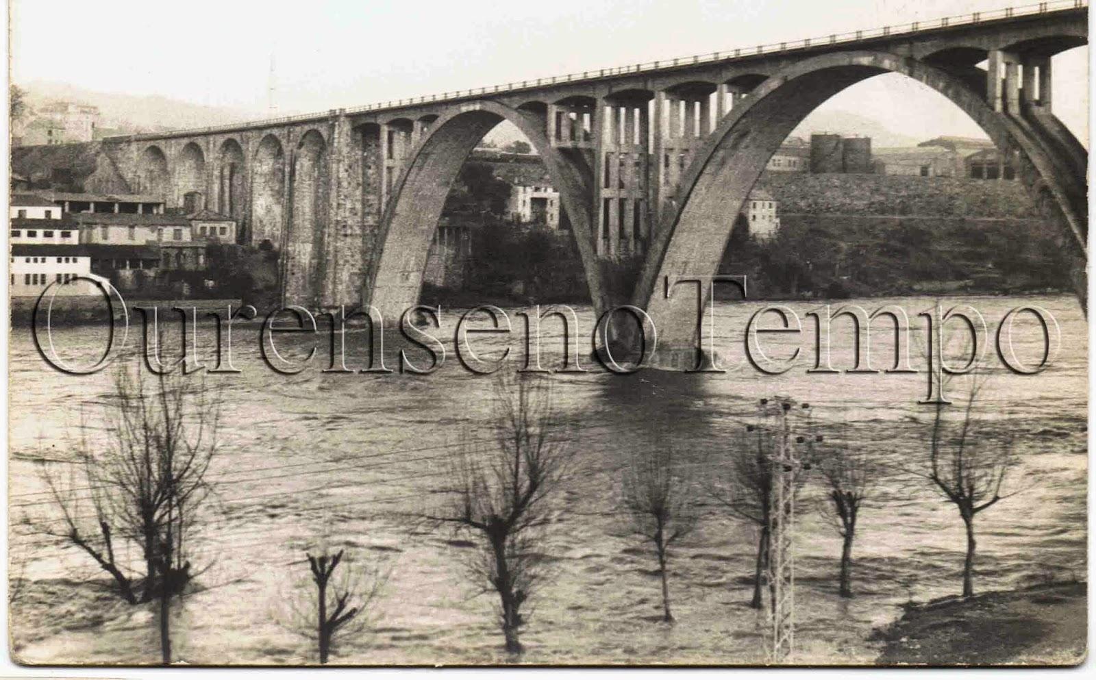 Ourense no tempo el viaducto en una de las crecidas del mi o for Jardin del posio ourense