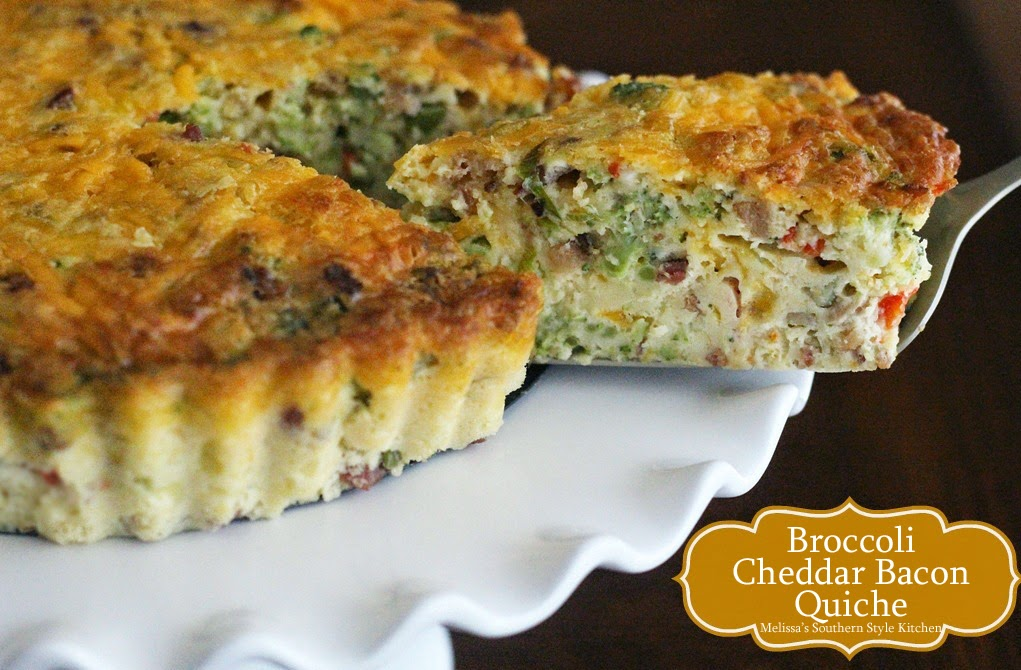 Melissa's Southern Style Kitchen: Broccoli Cheddar Bacon Quiche