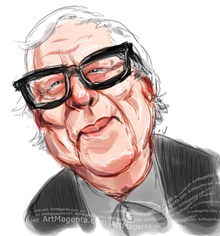 Ray Bradbury caricature cartoon. Portrait drawing by caricaturist Artmagenta