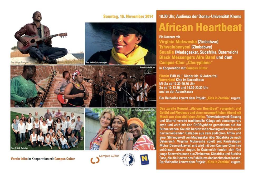 Einladung zu African Heartbeat, Campus-Chor Krems