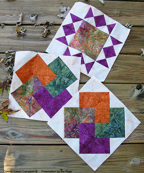 Quarter Square Triangle blocks made with Tuscany Sun by Island Batik