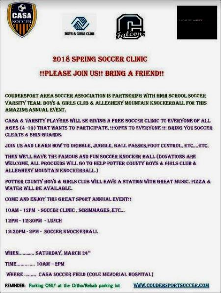 3-24 Spring Soccer Clinic, Coudersport