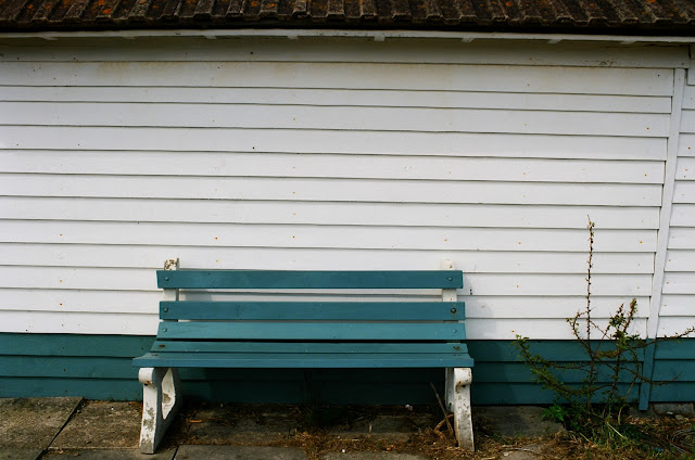 Beach hut bench, Deal, Kent