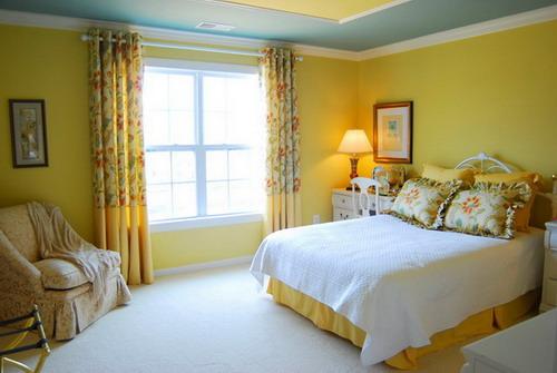 Warm Yellow Wall Bedroom Paint Colors Scheme Design