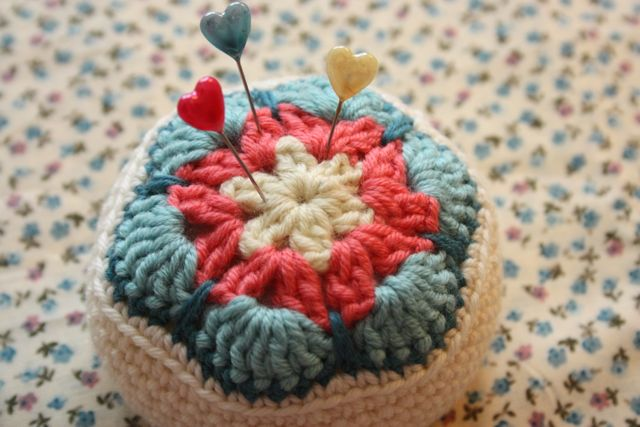 Crochet Flower Pincushion Pattern : Cherry Heart: Blog: Crocheted African Flower Pincushion ...