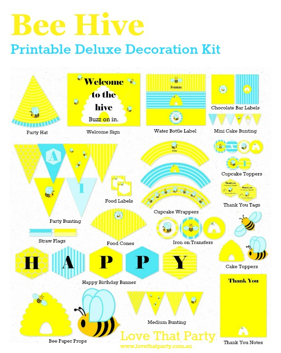 """Bee Hive"" Bee Party Printable Deluxe Decor Kit - Love That Party available now at - http://lovethatparty.bigcartel.com/product/bee-hive-bee-party-deluxe-printable-decoration-kit"