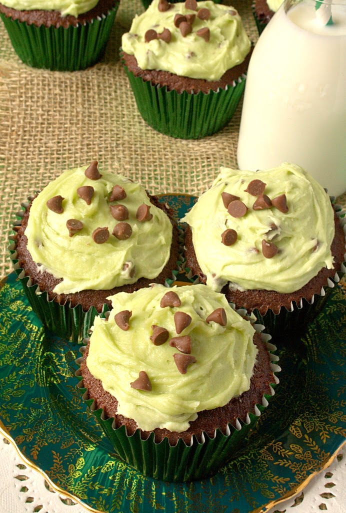 Mint Chocolate Chip Cookie Dough Chocolate Cupcakes all in one method