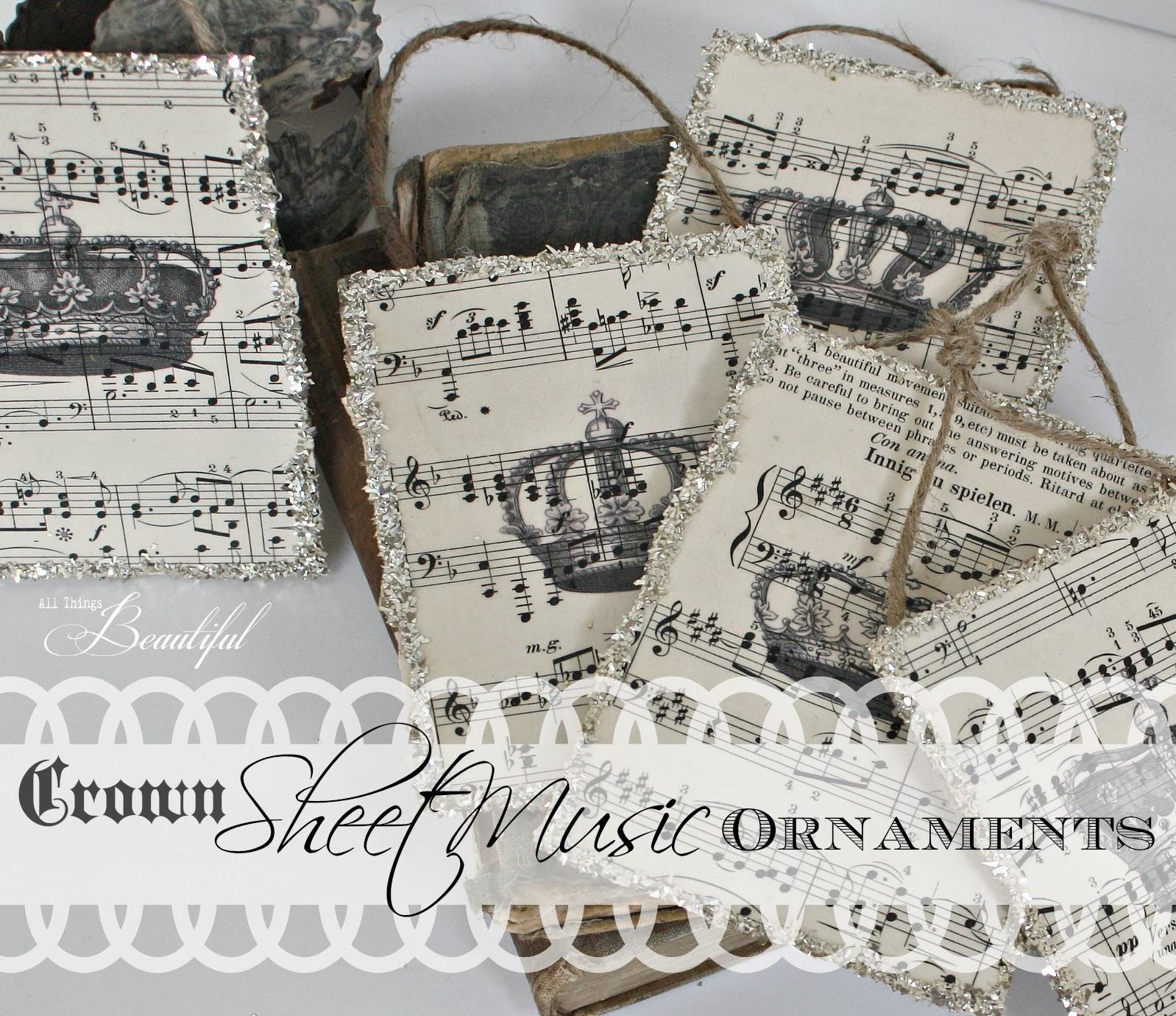 All Things Beautiful Diy Sheet Music Ornaments