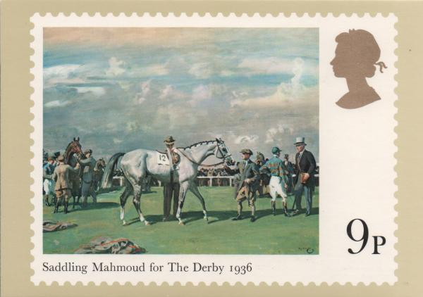 9 pence stamp card featuring horse racing painting