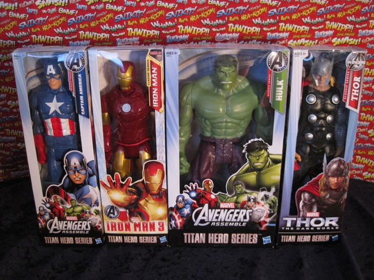 "Marvel 12"" Titan Heroes Avengers Action Figures: Captain America, Iron Man, Hulk, and Thor (In Boxes)."