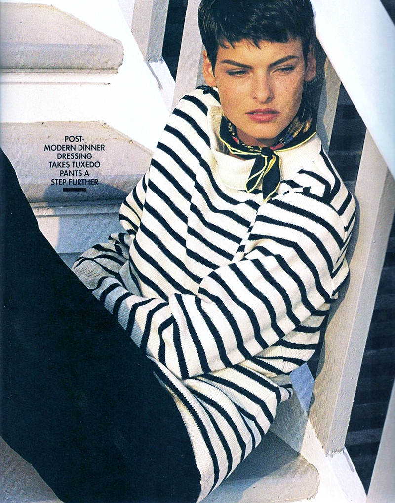Breton top / how to style breton top / story of breton stripes / Linda Evangelista in Elle US August 1989 (photography: Gilles Bensimon) / via fashioned by love british fashion blog