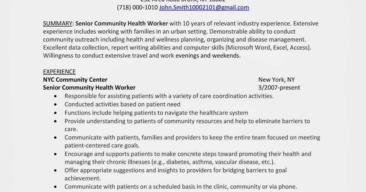sle resume community health worker winning answers