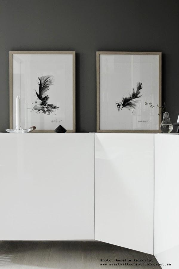 vit tv möbel, tavlor på skänken, byrå, vit högblank, trärena ramar med svartvitt motiv, fjädrar, konsttryck, tavlor, vitt och grått, vitt, vita, grått, gråa, diamant, diamanter, ikea, posters, artprints, feathers, feather,