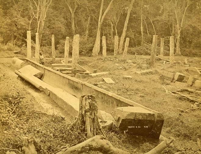 Anuradhapura, Abhayagiri, rice canoe pieces, photos last century, stone trough, ruins