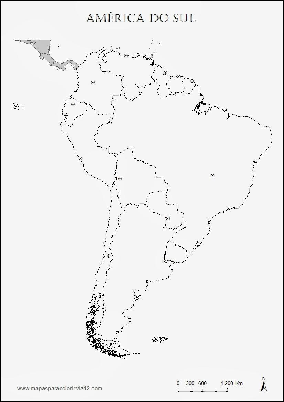 Geografia para todos MAPA PARA COLORIR E COMPLETAR AMERICA DO SUL