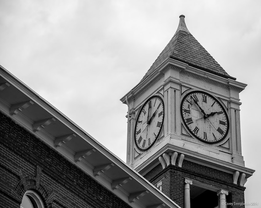 Woodfords Corner July Summer 2014 Portland, Maine USA Clock Tower black and white photo by Corey Templeton
