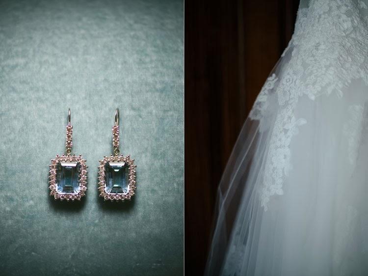 Monique Lhuillier wedding dress detail and Valobra diamond and topaz earrings