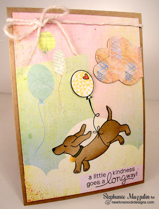 Dachshund with Balloon Card by Stephanie Muzzulin | Delightful Doxies Stamp set by Newton's Nook Designs