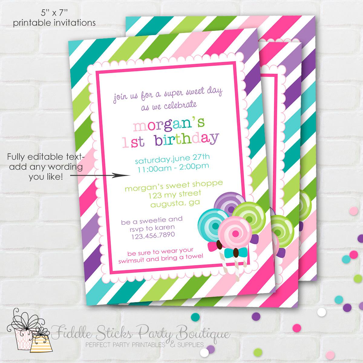 Candy theme for party invitation card ~ Invitation Card Ideas