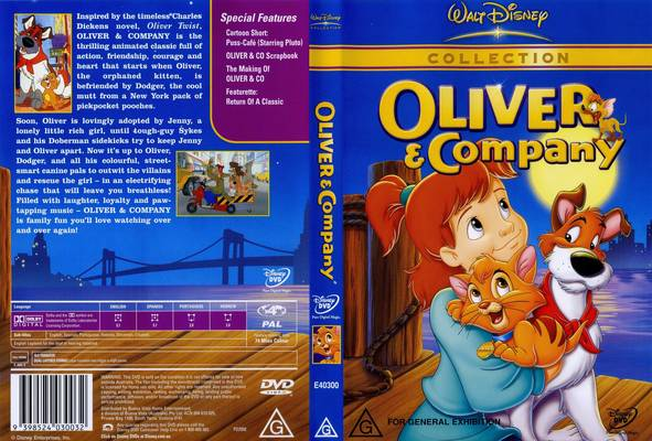 DVD cover Oliver & Company 1988 animatedfilmreviews.blogspot.com