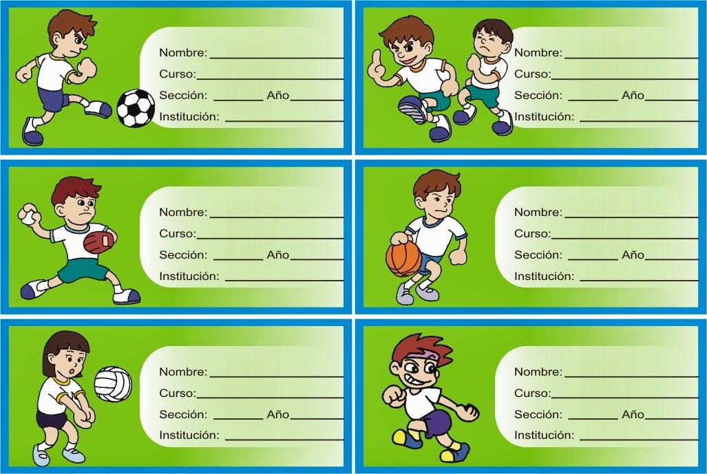 etiquetas con niños haciendo deporte con pelotas para los cuadernos