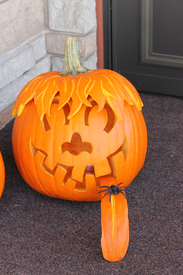Ladyface pumpkin carving