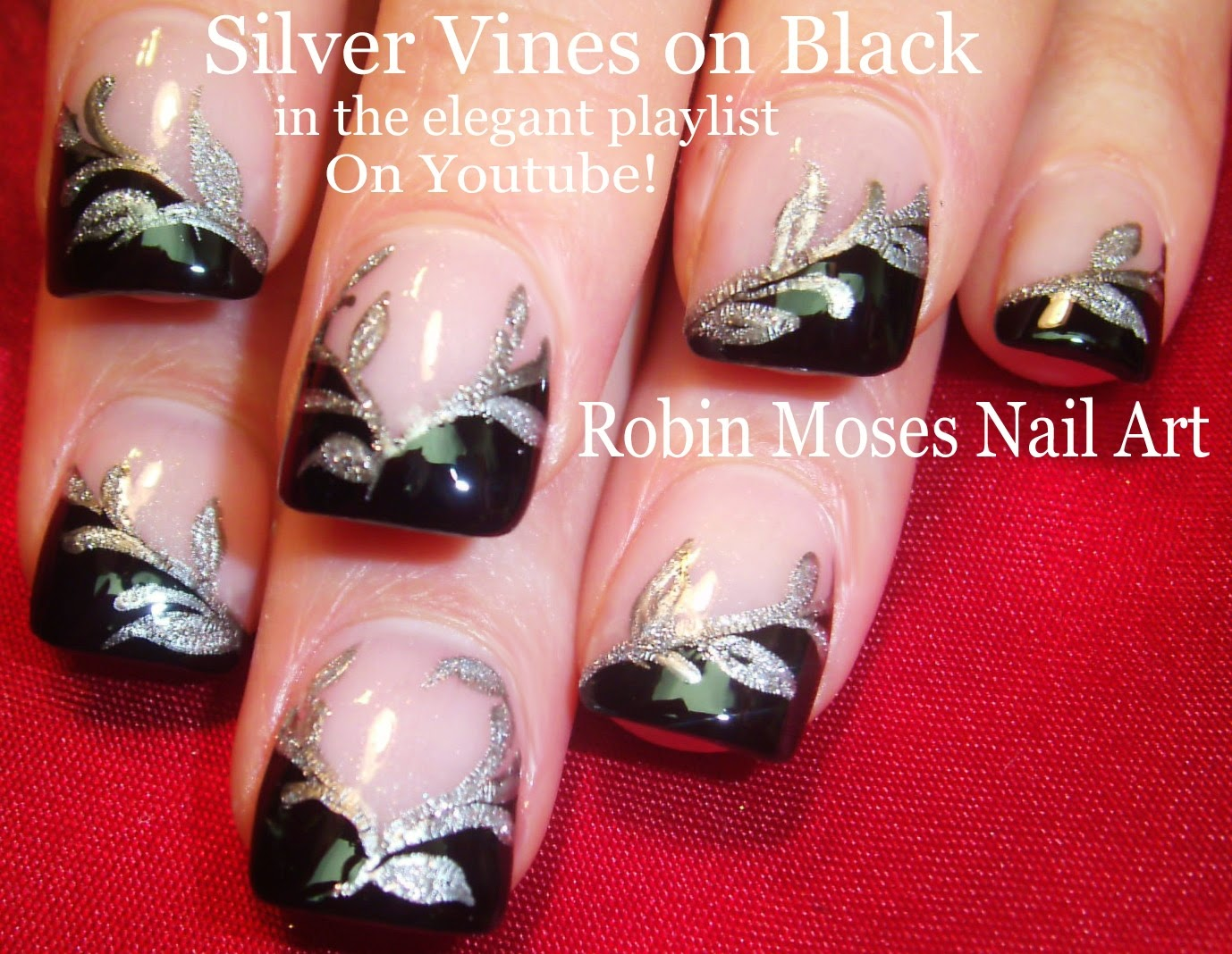 Robin moses nail art nye nails new years eve nails hot nails nail art tutorial diy black silver french manicure easy glitter nails prinsesfo Images