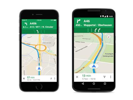 Navigatore di Google Maps, cambio di corsia