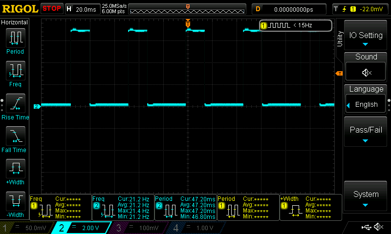 simple laboratory generator, oscilloscope view, lowest frequency