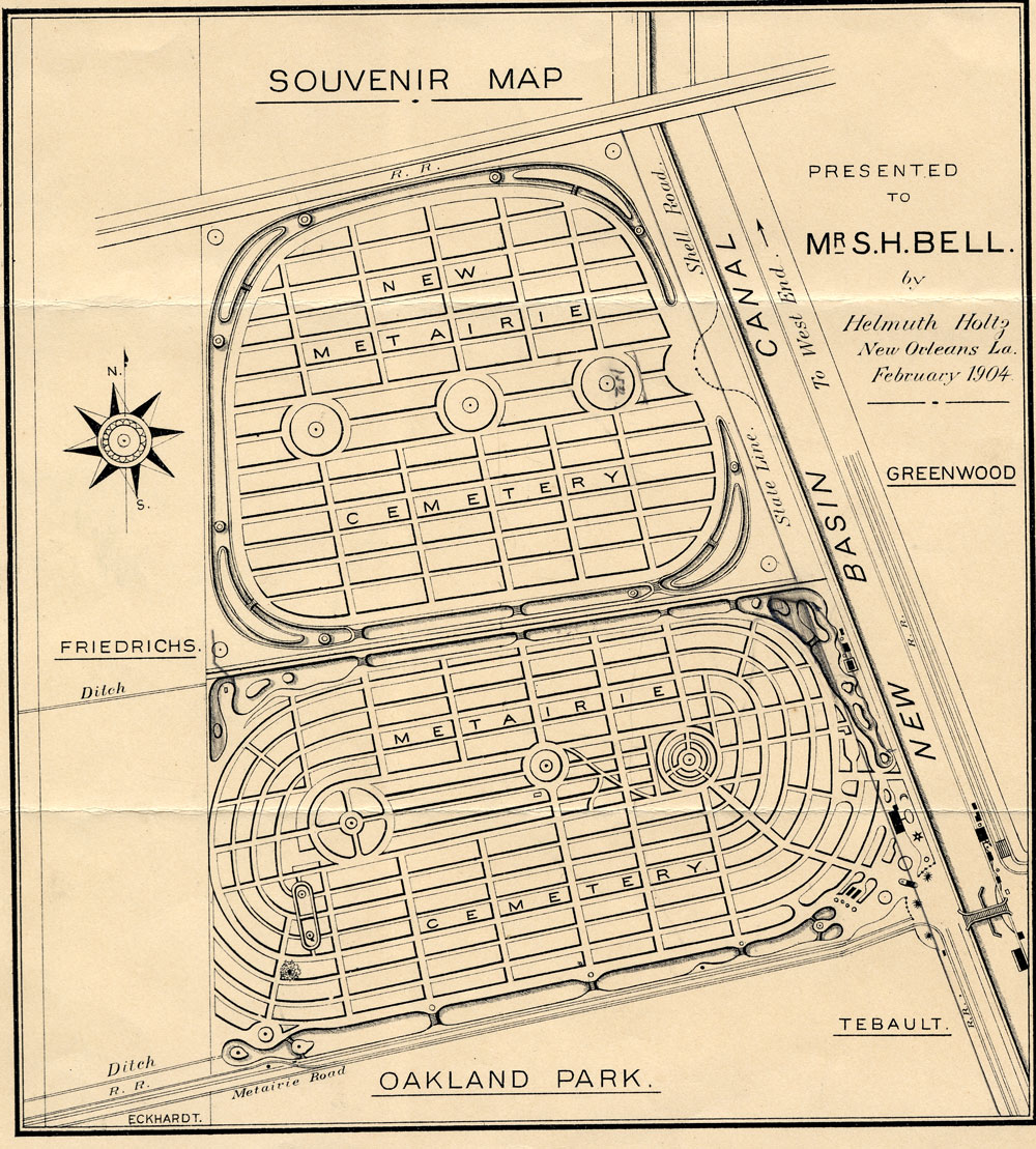 Architecture Research Metairie Cemetery Souvenir Map