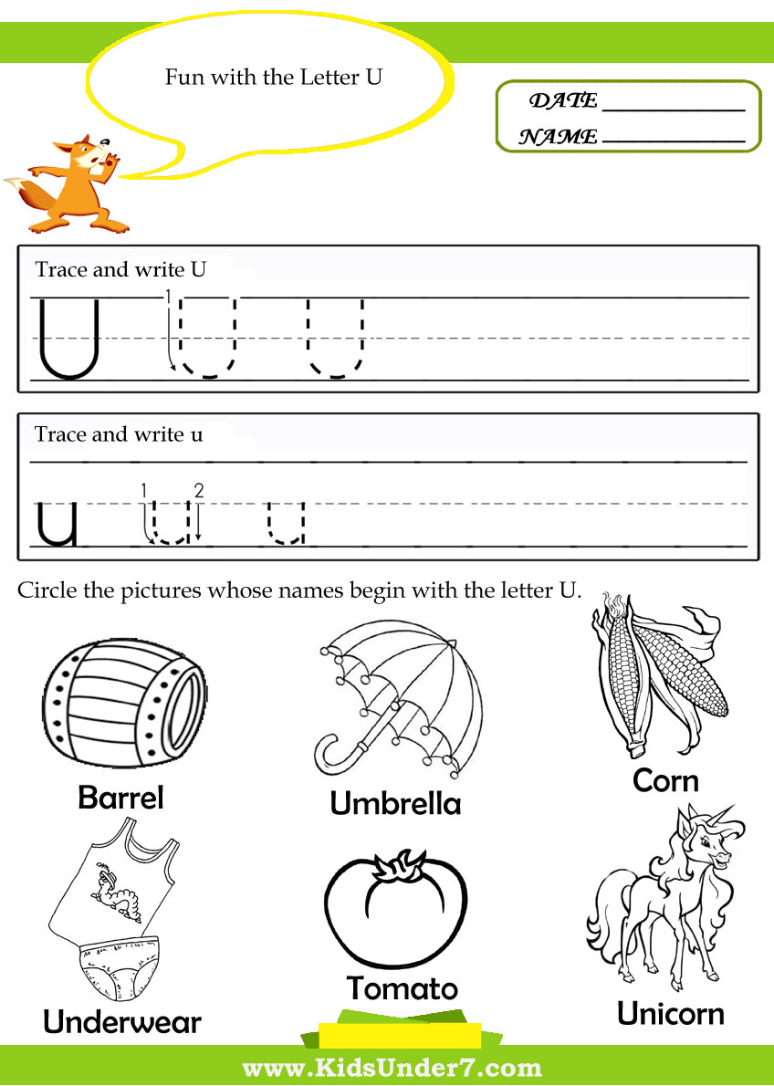 preschool worksheets letter u kids under 7 letter u worksheets and coloring pages8 best images. Black Bedroom Furniture Sets. Home Design Ideas