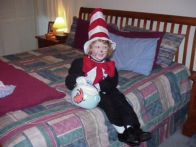 CAT IN THE HAT COSTUME WITH NORVAL FISH CANDY BUCKET