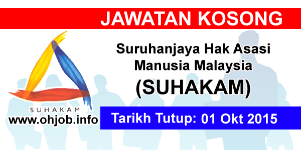 Jawatan Kerja Kosong Suruhanjaya Hak Asasi Manusia Malaysia (SUHAKAM) logo www.ohjob.info oktober 2015
