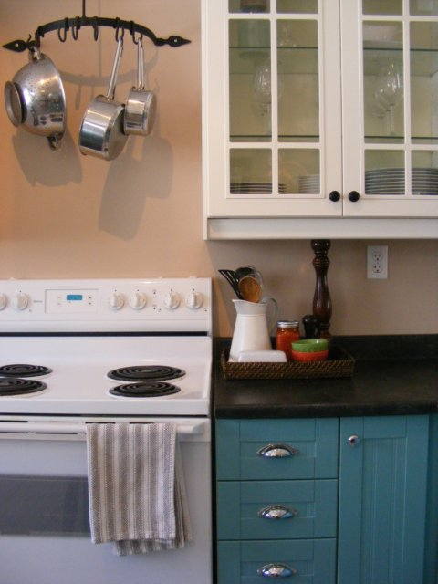 The complete guide to imperfect homemaking how to paint for Teal kitchen cabinets