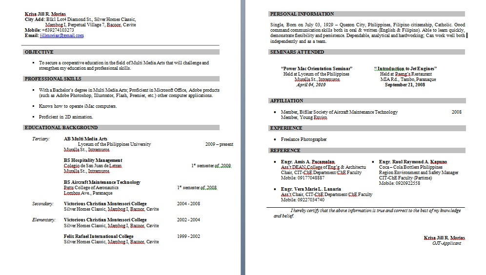 IN ALL THINGS  GOD SHOULD BE GLORIFIED  DEducational Background In Resume