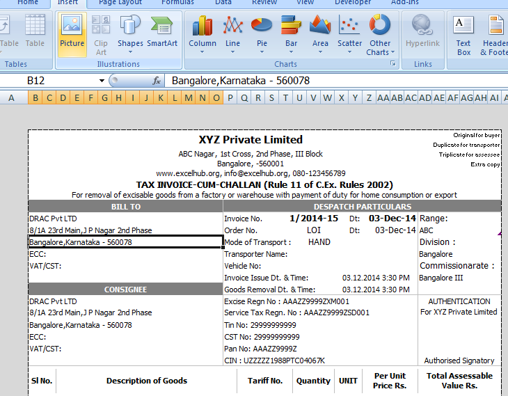 Excise Invoice Preparation Utility In Excel Excelhub