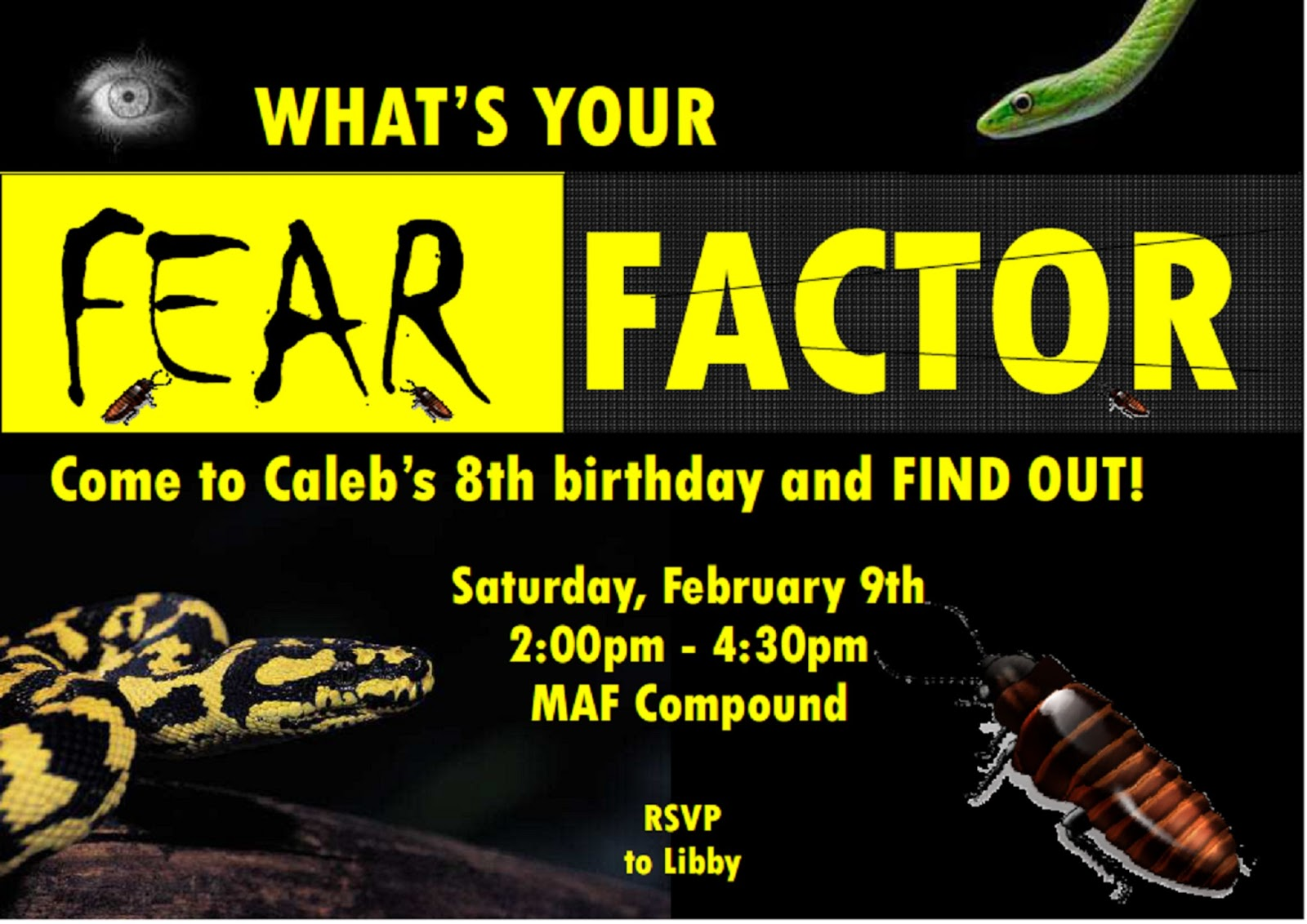 Another African Day in the Life – Fear Factor Party Invitations