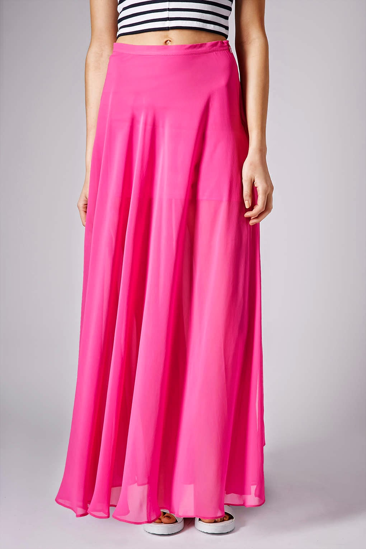 bright pink maxi skirt
