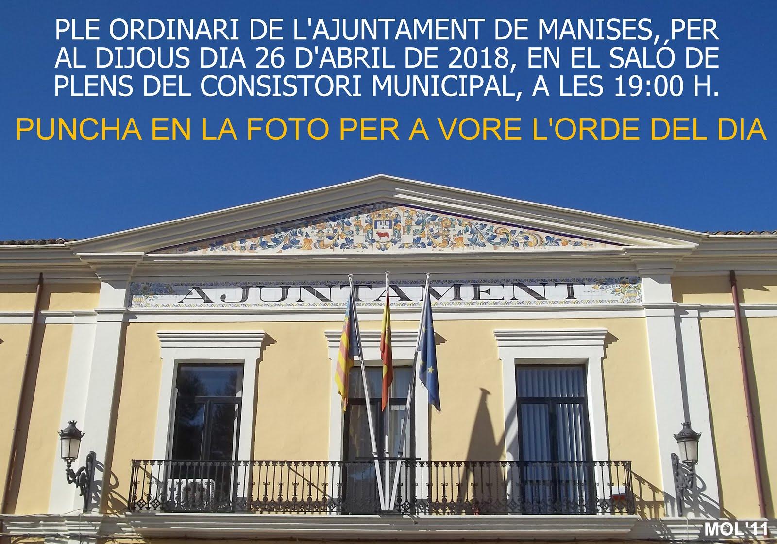 26.04.18 PLENO ORDINARIO DEL AYUNTAMIENTO DE MANISES DEL MES DE ABRIL