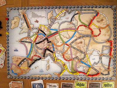 Ticket To Ride: Europe - The board and other components early in the game