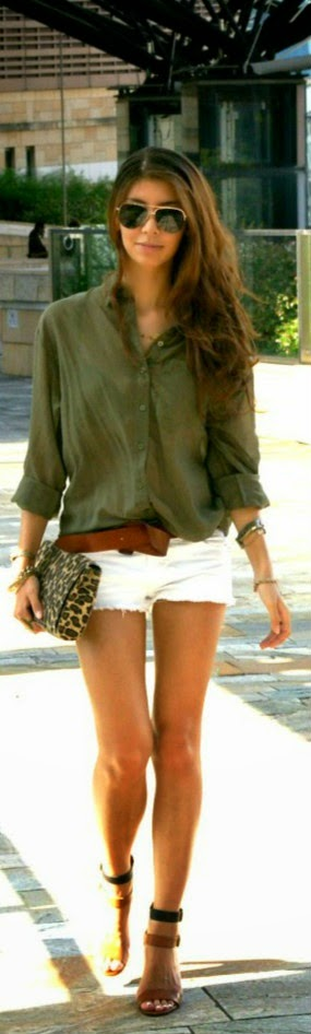 White shorts & a button up shirt. Spring & Summer Fashion For 2013. Love her hair too