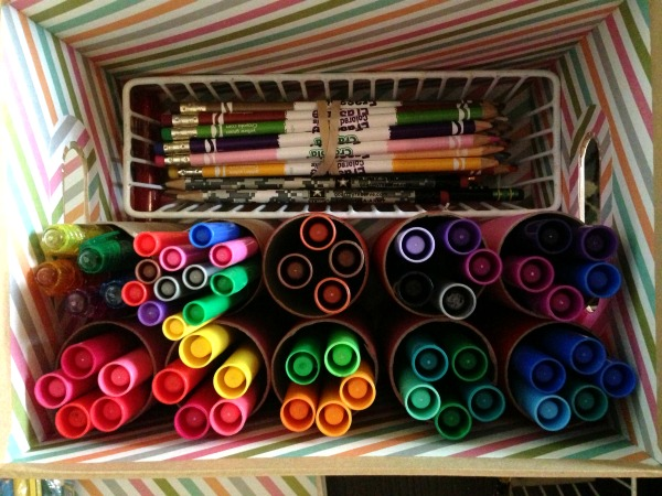 organize with toilet paper rolls, organize desk, organize art supplies