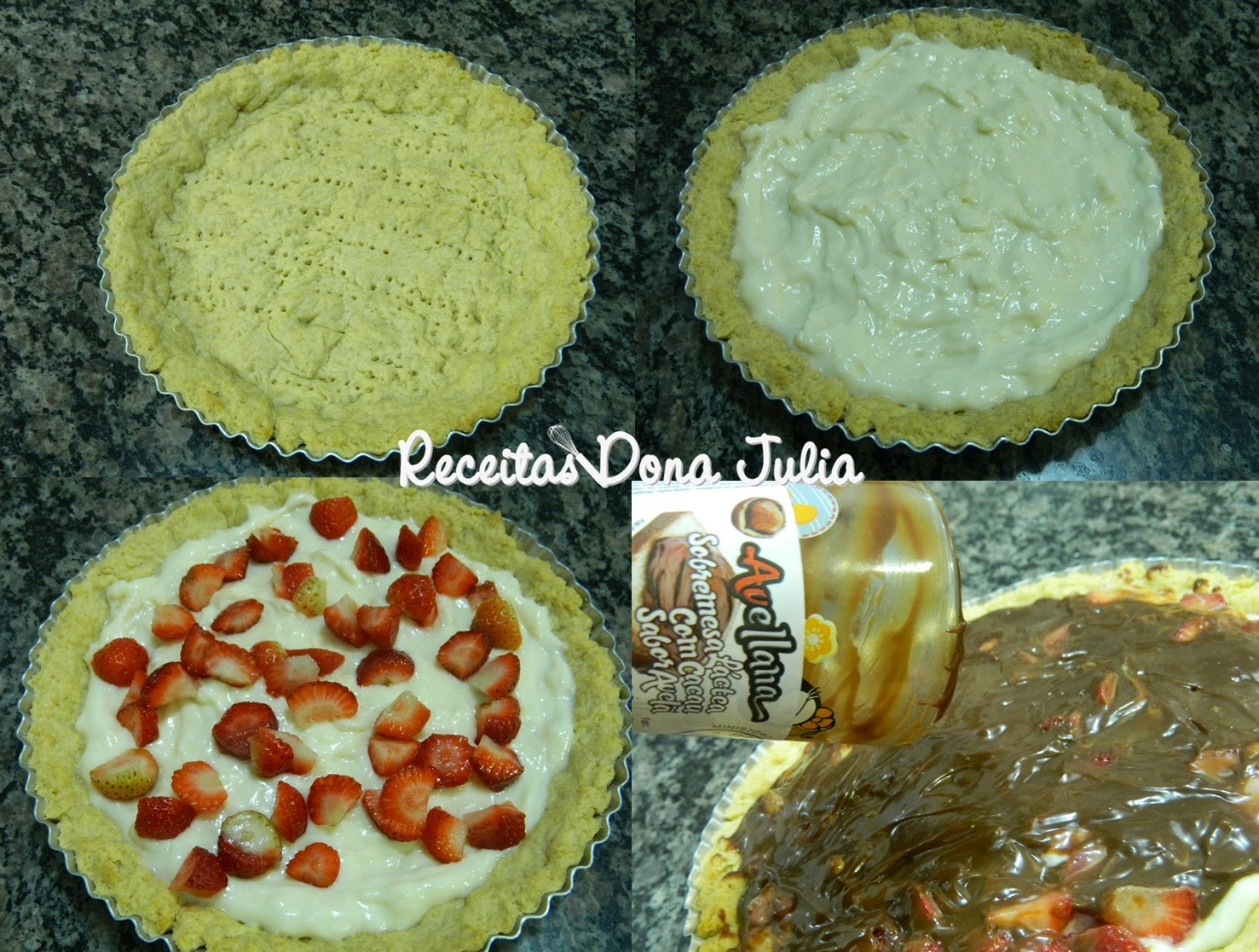 Torta de creme com morangos e creme de avelã