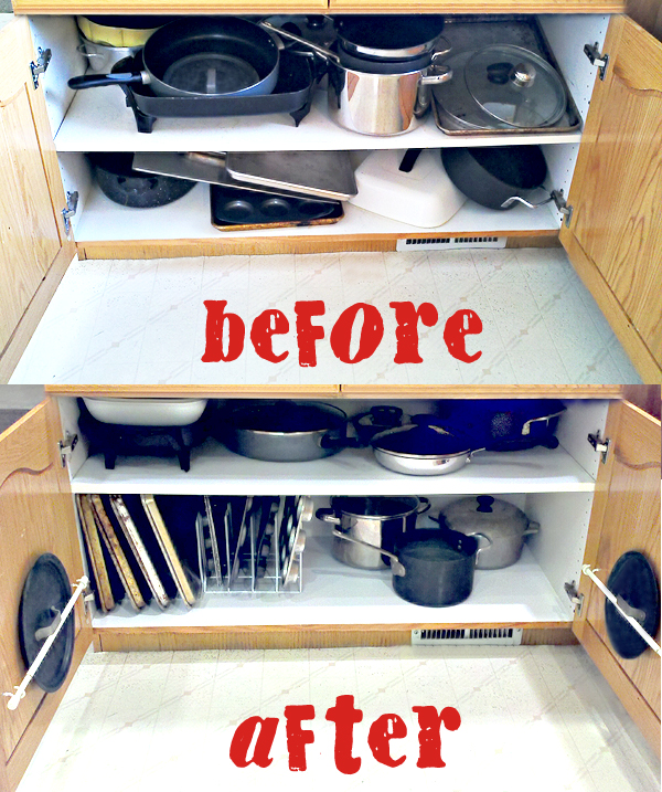 organizing the dreaded pots and pans cabinet one good thing by jillee