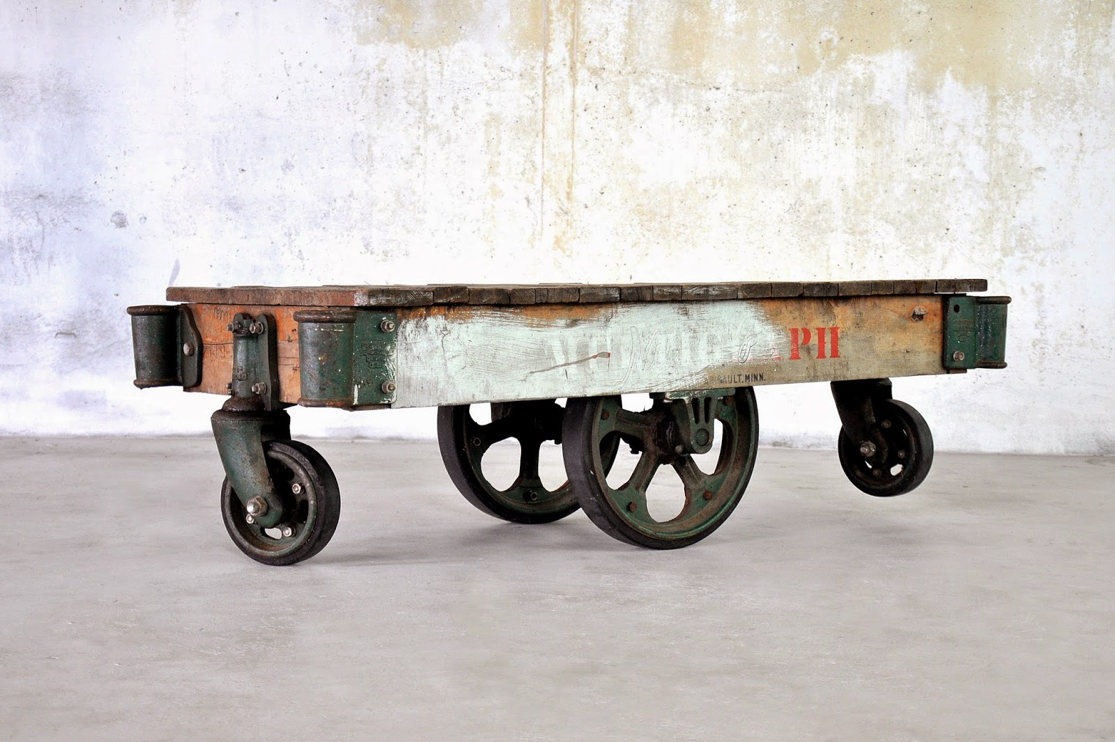 SELECT MODERN: Industrial Chic Reclaimed Wood Railroad Cart Coffee Or Cocktail  Table