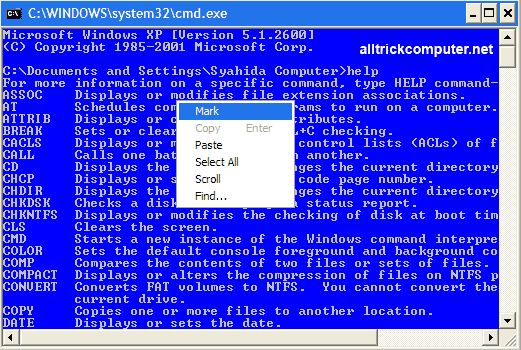 copy teks di command prompt