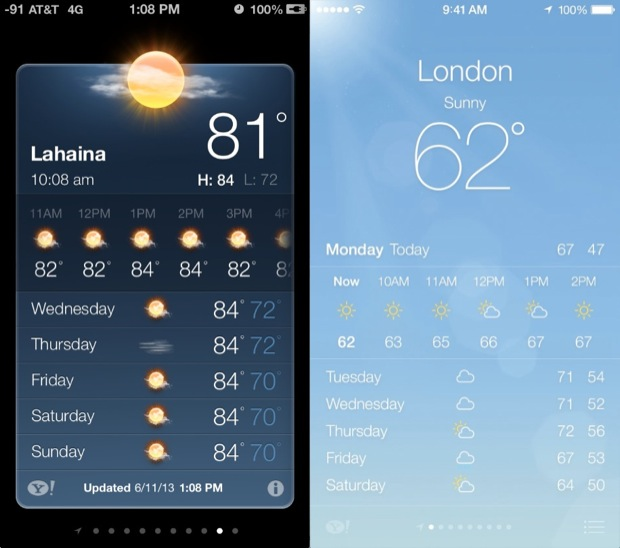 iOS 7 VS. iOS 6 Weather UI Comparison