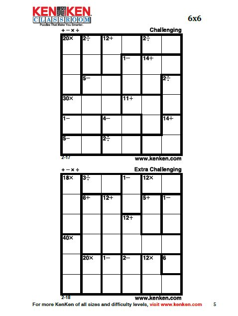 Crazy image regarding kenken puzzle printable