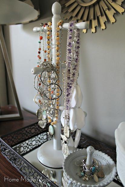necklaces on a mug tree